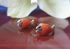Clous d'oreilles boucles Poisson brun Terracotta couleurs émaillé plaqué or