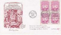United Nations NY35 - Enveloppe 1er jour 1954 Labor Organization Airmail 8c