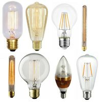 3/4/40W Vintage Filament Bulbs Dimmable Incandescent Lamp E27 E14 LED Warm White