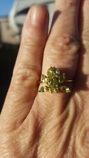 Peridot Butterfly Ring Pear Marquise And Round Cut 10kt Solid Yellow Gold