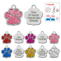 Personalized Glitter Paw Dog Tags Puppy Cat Name ID Collar Tags Free Hair Bow