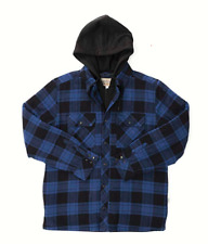 Boston Traders Men's Large Jacket Shirt With Hood Blue and Black Plaid