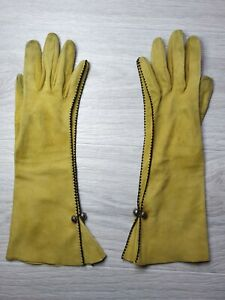 Auth Vintage RARE Hermes Gloves Lady's Long Suede Мustard Size S 6½