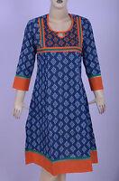 Indian Bollywood Designer Floral Print Blue Kurta Kurti Women Tunic Casual Dress