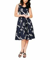 HEARTS & ROSES LONDON V-Neck Sleeveless A-Line Dress - Plus Too (Blue, 2XL)