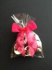 5 Heart Rose Scented Bath Bombs with Hot pink Ribbon...Gift......