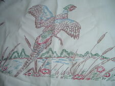 New listing Vtg 70s Shabby Pheasants Colortex Style To Embroider Tablecloth 50x50 #Pb7