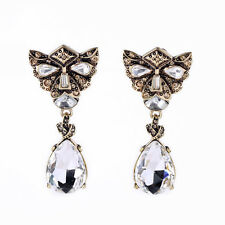Costume Fashion Clip on Earrings Gold Dangle Drop Crystal Alien Face Special J1