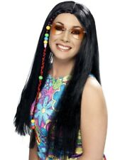 Black 1960's Groovy Hippy Party Wig Adult Womens Smiffys Fancy Dress Costume