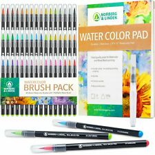 XL50 Waterbrush Set - 48 Watercolor Paint Markers, 1 Refillable Water Brush