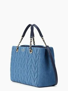 Kate Spade Denim Handbag Briar Lane Quilted Meena Satchel Blue Used