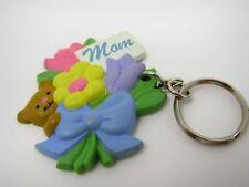 Collectible Keychain Charm: MOM Teddy Bear Flower Bouquet Design
