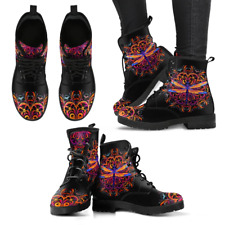 Colorful Mandala Dragonfly Handcrafted Women's Vegan-Friendly Leather Boots
