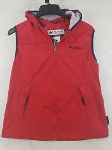 Columbia Women's Full Zip Hooded Nylon Vest Size Larger RED