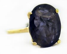 GENUINE 4.23 Carats LARGE IOLITE RING 10K Gold  *FREE SHIPPING & APPRAISAL*