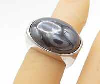 925 Sterling Silver - Vintage Cabochon Hematite Cocktail Ring Sz 5 - R15479