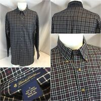 Brooks Brothers Oxford Shirt L Navy Blue Red Check 100% Cotton NWOT YGI D8-405