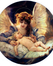 Oil painting Gabriel Ferrier - Young beauty The Guardian Angel with baby
