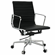 Ribbed Mid Back Office Chair Management Low Black Leather Eames