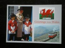 POSTCARD B45-1 CAERNARVONSHIRE GREETING FROM WALES - NATIONAL COSTUME - TRAINS A