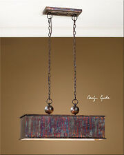RESTORATION METALLIC OXIDIZED COPPER FINISH HANGING CHANDELIER LIGHT POOL TABLE