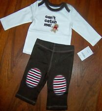 Pant Outfit Brown Gymboree Catch Me Cotton Fall 2 pc Boy size 3 6 mo New
