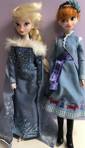 Disney Store Olaf's Frozen Adventure Anna And Elsa Dolls