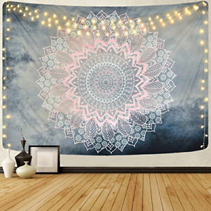 Mandala Tapestry Grey Pink Floral Tapestries Hippie Bohemian Flower Tapestry for