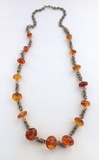 Artisan Handmade Vintage Baltic Amber W/ Inclusion Beads Braided Chain Necklace