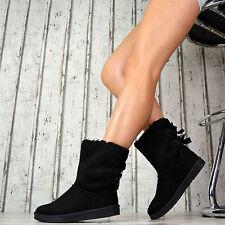 GEFÜTTERT Winter Damenschuhe Boots Stiefeletten Luxus Kunstfell Grau Camel Schw