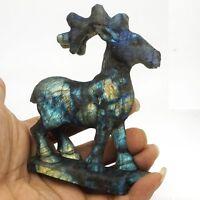 Deer Figrune Natural Gemstone Labradorite Healing Crystal Carved Statue Decor