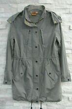 Tory Burch Navy White Gingham Check Cinch Waist Hooded Fabian Raincoat Jacket 6