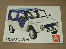 Prospectus CITROEN MEHARI AZUR  1987 catalogue car  brochure prospekt auto