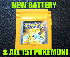 Véritable Pokemon jaune Version Nouvelle batterie de sauvegarder toutes les 151 game boy color!