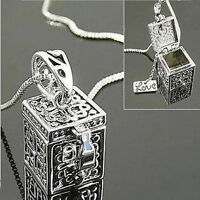 Women Retro Vintage Silver Necklace Box Charms Pendant Jewelry Christmas Gift JR