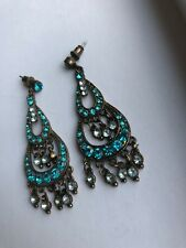 Turquoise Diamante Drop Earrings Gold Tone