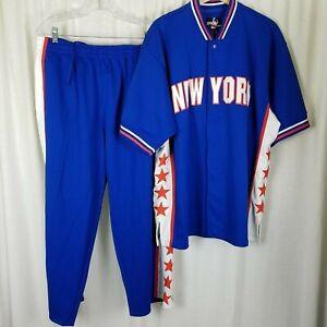 New York Knicks Caliente Up Traje Rastrear Chaqueta Vintage 90s Hombre L Azul