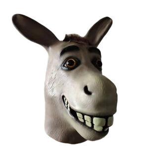 Shrek Donkey Mask Halloween Novelty Latex Costume Party Animal Head Mask