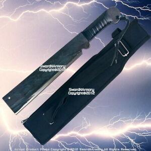 Full Blackened Carbon Steel Machete Battle Ready Fixed Blade Knife Dagger  Sword