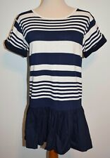 New Vineyard Vines Dress Navy Blue Cream Striped Short Sleeve Small