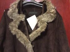 Ladies Long Sheepskin Styled Coat With Faux Fur Collar - from Centigrad size XXL