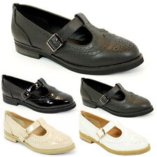 WOMENS GIRLS FLAT SCHOOL MARY JANE T-BAR GEEK PUMPS BLACK PATENT SHOES SIZE