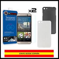 PACK - 2 x Protector pantalla cristal templado para HTC One M9 + Funda