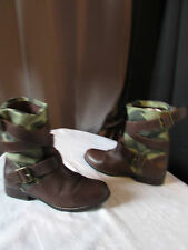 boots/bottines  mellow yellow cuir marron et toile camouflage 35