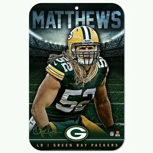 """CLAY MATTHEWS GREEN BAY PACKERS 11""""X17"""" PLASTIC SIGN DURABLE POSTER"""