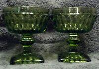 MINT SET(S) 2 INDIANA MOUNT VERNON AVOCADO GREEN GLASS FRUIT DESSERT  DISHES