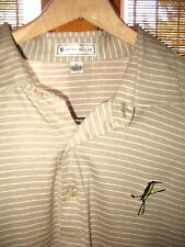PETER MILLAR SZ M TAN & WHITE STRIPED COTTON GOLF POLO SHIRT w BIRD & GOLF CLUB
