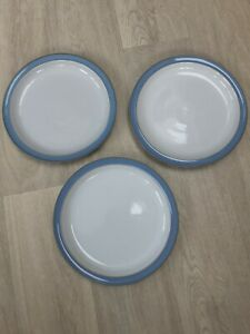 """A set of 3 Denby stoneware 10.5"""" Colonial Blue dinner plates, excellent conditio"""
