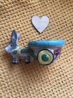 Vintage 50s Italian Ceramic Small Donkey And Cart Planter