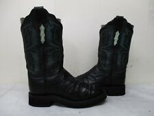 Lucchese 2000 Black Full Quill Ostrich Leather Cowboy Boots Womens Size 8.5 B